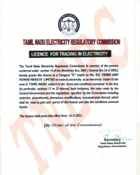 Licence For Trading In Electricity